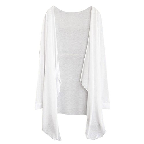 VEMOW Meistverkaufte Sommer Frauen Lange Dünne Strickjacke Modal Sonnenschutz Kleidung Tops für Muttertag Geschenk (Freie Größe, Weiß) - Button-down-pullover-strickjacke