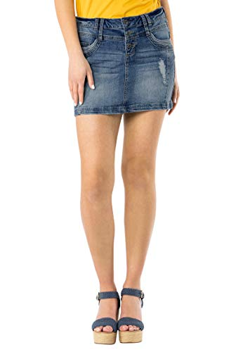 Sublevel Damen Jeans Mini-Rock mit Knöpfen im Used Look Middle-Blue L -
