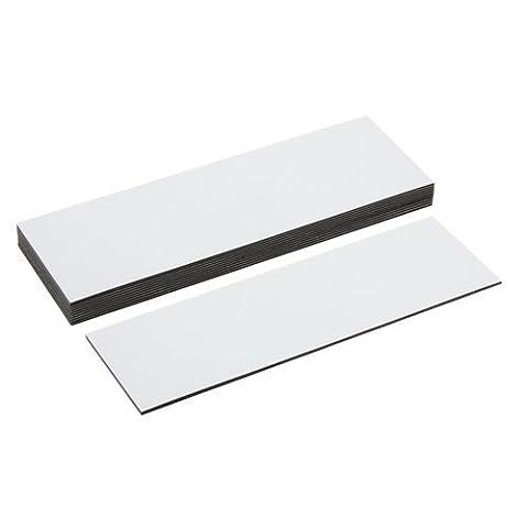 Magnet Expert Lot de 10 étiquettes aimantées avec surface d'écriture brillante Blanc 120 x 40 x 0,76 mm