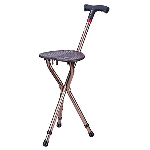 Huikafir Alpenstock Wicker Chair Hocker Walker Massagestab mit Sitzhöhenverstellbarem Klapphocker Tragbare Restbank mit MP3 Trekkingstange -