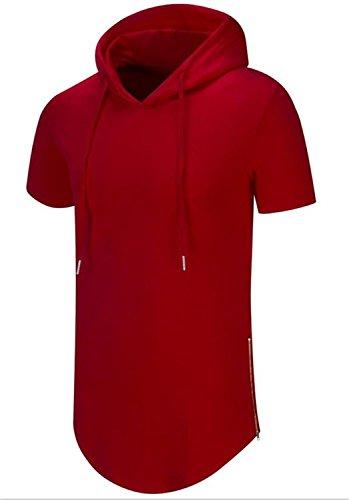 AIYINO Herren Kurzarm/Langarm Hoodie T-Shirt 100% Baumwolle Kapuzenshirt Rot