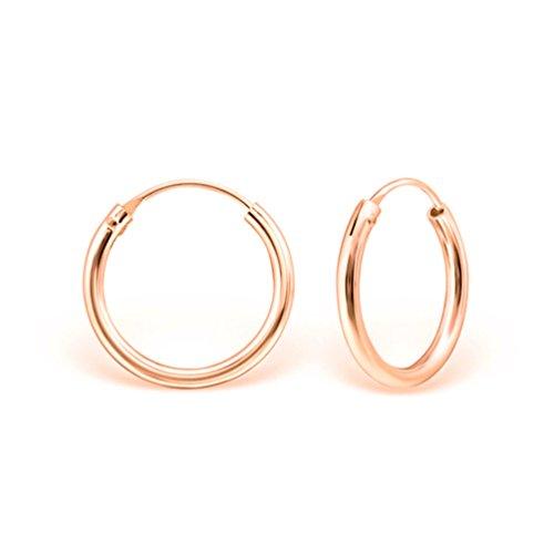 DTP Silver - Argento 925 placcato in Oro Rosa - Orecchini da donna piccoli a Cerchio - Spessore 2 mm - Diametro 12 mm