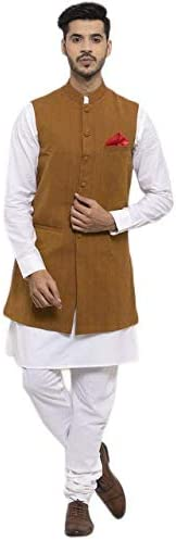 NEUDIS by Dhrohar Cotton Long Nehru Jacket With Kurta Pajama For Men -Yellow