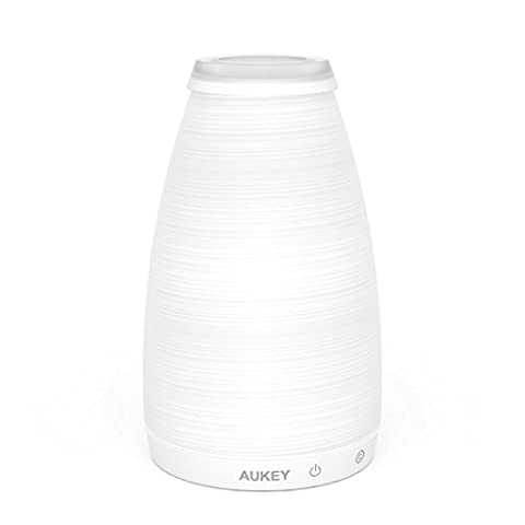 AUKEY Rechargeable Table Lamp, Glass Vase Bedroom Lamp with Touch