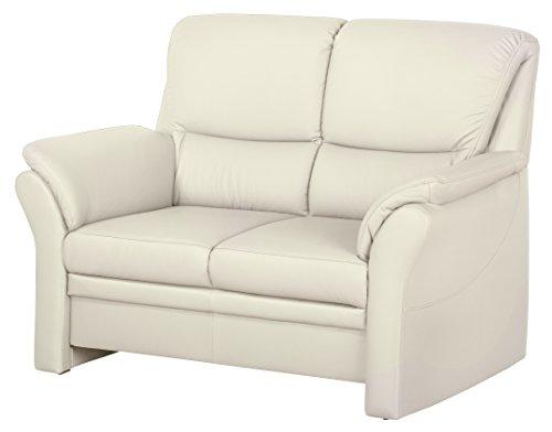 Cavadore Couch Klariza mit Federkern / 2-Sitzer Ledersofa im modernen Design / 143 x 102 x 91 / Leder in weiß