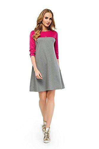 Futuro Fashion - Damen Sportliches Mini Kleid U-Boot Ausschnitt 3/4 Ärmel Etui A-Line FA424 Aschen Fuchsien