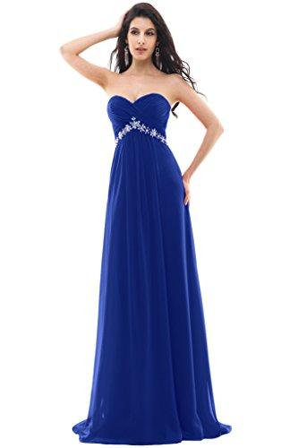 Sunvary elegante pieghe in chiffon tulle Prom abiti da sera con fiore a ghigliottina Royal Blue