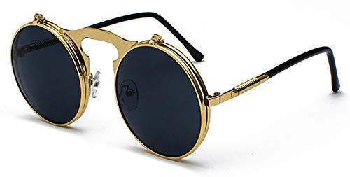 Sonnenbrille Runde Klappbare Sonnenbrille Retro Männer Metallrahmen Rote, Gelbe Linse Zubehör Gold Mit Schwarz Unisex Sonnenbrillen Für Frauen