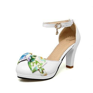 LvYuan Sandalen-Büro Kleid Lässig-PU-Blockabsatz-Club-Schuhe-Schwarz Rosa Weiß White