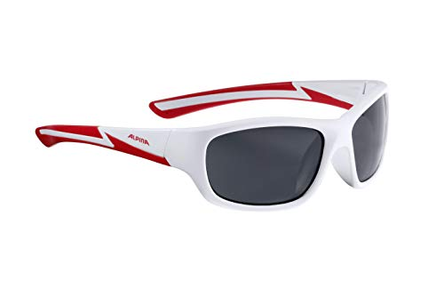 ALPINA Kinder Sonnenbrille FLEXXY Youth Sportbrille, White-matt-red, One Size