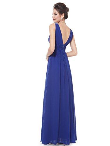 Ever Pretty Damen Chiffon V-Ausschnitt Lang Abendkleider Abschlussball Kleider 08110 Saphirblau