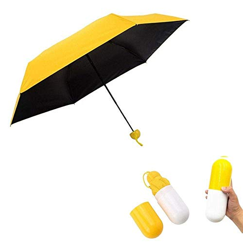 Teabelle Ultra Pequeño y Ligero Anti-UV Paraguas con Mini Travel Creative Cute Cápsula Caso Bolsillo, 5, Plegable sombrilla Paraguas para Las Mujeres Las niñas niños, (Amarillo)