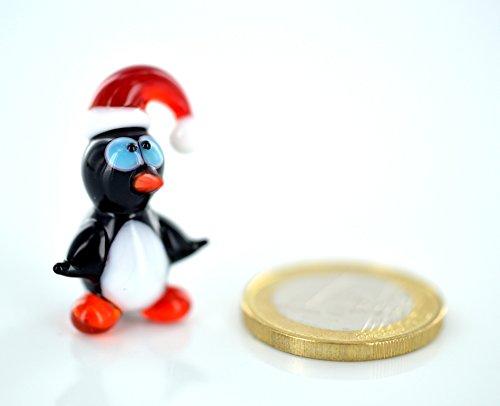 Glas Pinguin Figuren (Pinguin mit Roter Mütze Mini - Miniatur Figur aus Glas - Glastier Glasfigur kleiner Vogel Setzkasten Deko Vitrine)