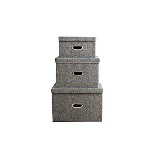 gsbox aus Baumwolle und Leinen, 3-teiliges Set, mit Deckel, zum Aufhängen von Kleiderschränken, Geeignet für die Endbearbeitung von Kleiderschränken, Grau ()