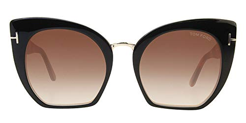 Tom ford - samantha-02 ft 0553, cat eye, acetato, uomo, black havana/brown shaded(05u), 55/21/140