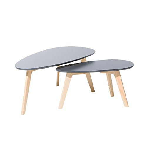 Beliani Tables Basses - Lot de 2 Tables d`appoint - Gris - Fly II