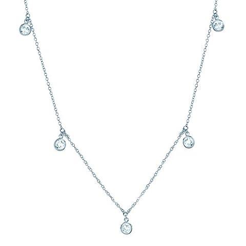 CRISLU Women's 925 Sterling Silver Round Clear Cubic Zirconia DBY Drop Necklace