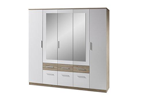 Stella Trading Box  5-türiger Kleiderschrank, Holz, weiß / sonoma, 60 x 212 x 213 cm