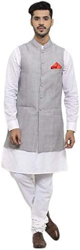NEUDIS by Dhrohar Cotton Long Nehru Jacket With Kurta Pajama For Men -Grey