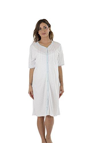 Premamy - camicia clinica per premaman, modello aperto davanti, cotone jersey, pre-post parto - azzurro - iv (m)
