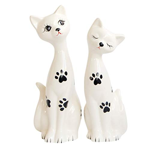 LOVIVER 2 x Katze Statue Skulptur Keramik Figur Geschenk für Freund - Schwarz -