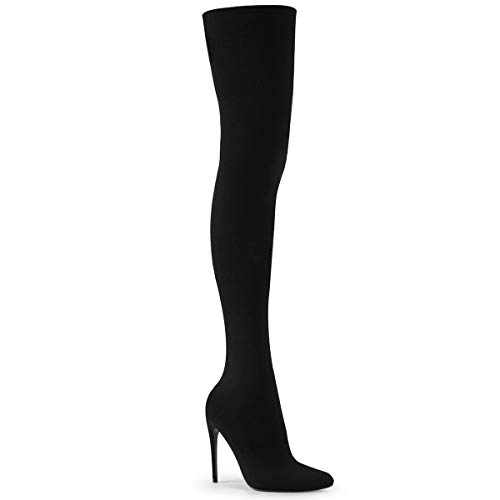 Pleaser COURTLY-3005 Damen Overknee Stiefel, Nylon Schwarz, EU 45 (US 14)