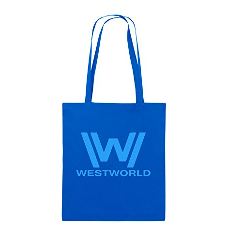 Borse A Tracolla - Westworld - Logo - Borsa In Juta - Manico Lungo - 38x42cm - Colore: Nero / Rosa Blu Royal / Blu