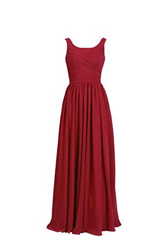 YiYaDawn Langes Elgantes Brautjungfernkleid Abendkleid für Damen Rot