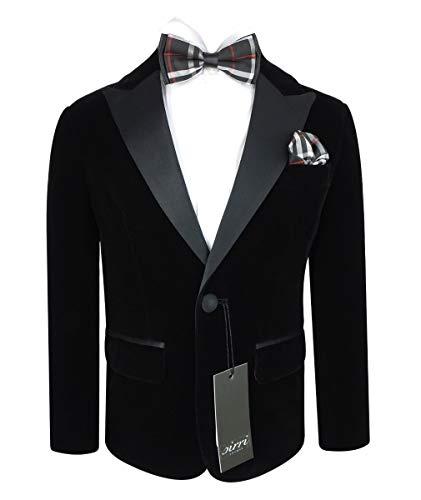 SIRRI Paul Andrew Herren & Jungen Blazer Samt mit schwarzem Kontrast-Glanzreck Gr. 56 DE Regulär, Mens - Black (Samt-blazer Für Jungen)