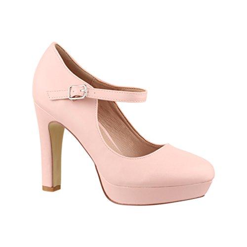 Elara Zapato de Tacón Alto con Correa para Mujer Vintage Chunkyrayan E22320 Pink-38
