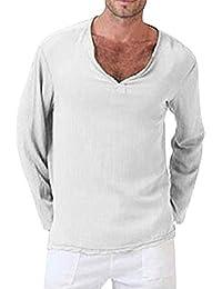 Rera Herren Sommer Leinen Hemd Dünne Leicht Loose Fit Langarm Strand Hemd  Bequem Atmungsaktiv Langarmshirt V cdb863cb49