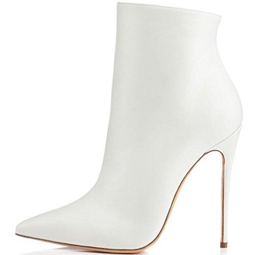 ELASHE Damen Klassischer Stiefel | 10cm Pointy Toe Damen Stiefeletten | Knöchelhohe Stiefel mit Absatz | Office Ankle Boots Weiß EU42 (Boot Pointy Toe)