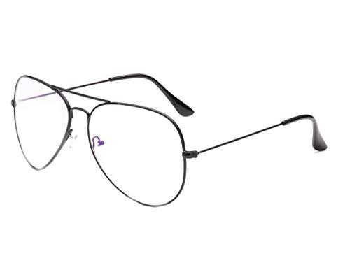 JIUPO Brille Ohne Sehstärke Retro Vintage Pilotenbrille Metall Light Gewicht Brillenfassung mit Nasenpad Unisex (Herren/Damen)