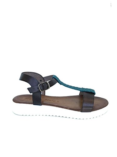 Sandali in pelle CL200921 platform tacco basso made in italy MainApps Turchese