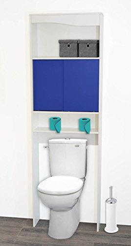 PEGANE Meuble WC Bleu en Bois avec 2 Portes coulissantes, 63x19,5x195cm