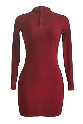 YIHIGH Kleid Damen - Frühling Herbst V-Ausschnitt Enganliegendes Sexy Kleid,Rot,EU XS=Tag S