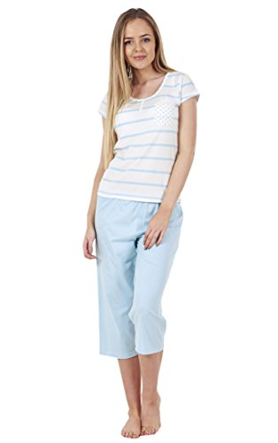 BHS Ladies Short Sleeve Love Cotton Cropped PJ's Set Nightwear Crop Pyjamas