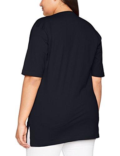 Ulla Popken Femme Grandes Tailles T-Shirt Femme Col Rond Manches Courtes Tee Shirt Top Haut Imprimé Casual Métro 515283 Bleu (Blau 71)