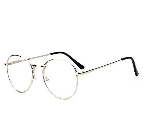 Dawnzen Nerdbrille Leicht Runden Brille Metallrahmen klare Linse Rahmen Damen Herren Ohne Stärke...
