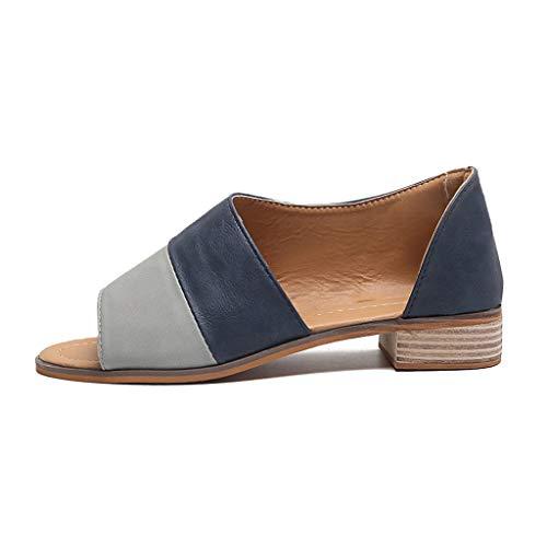 YEARNLY Sommer-Frauen öffnen Zehe Sandalen Mode Casual Retro Low Heel Schuhe mit Wurzel Damen Zehentrenner Boho Sommerschuhe Strandschuhe Leder Schuhe