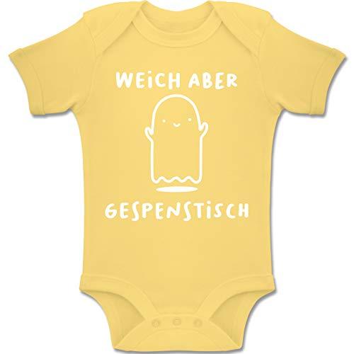 Shirtracer Anlässe Baby - Weich Aber gespenstisch Halloween - 3-6 Monate - Hellgelb - BZ10 - Baby Body Kurzarm Jungen Mädchen