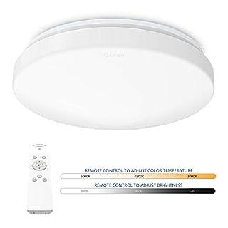 AntenDeckenleuchte LED dimmbar mit Fernbedienung | Rund Deckenlampe 24W Farbtemperaturwechsel 3000K-6500K |Beleuchtung für Wohnzimmer, Schlafzimmer, Esszimmer, Küche, Flur, usw. [Energieklasse A++]