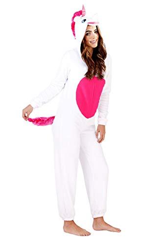 Damen Einhorn Einteiler Damen Pyjama 3D Ohren Hupe & Schwanz Alles in eins Hausanzug - weiß Einhorn, L (44-46)