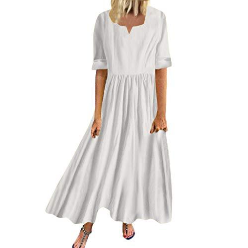 BfmyxgsXXXL Womens Pure Color Kleid Plissee Halbarm V-Ausschnitt Freizeitkleid für Frauen -