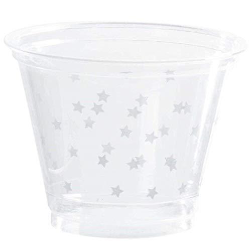 Transparente Kunststoffbecher - 200 Stück 9oz Hartplastik-Trinkbecher, silberne Sterne, Einweg-Partyzubehör für Geburtstage, Hochzeiten, Abschlussfeiern, Feiertage, 9Unzen Kapazität