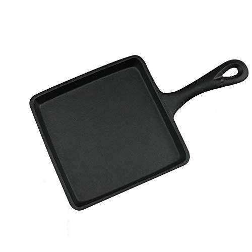 H&RB Gusseisen-Bratpfanne Quadratisch Omelett Pfanne, Frühstück Dicke Mini-Pfanne, 14 * 14Cm