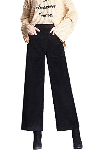 Dazosue Pantalones Casuales De Pana Cintura Elástica Pierna Ancha Pantalones De Mujer Negro M