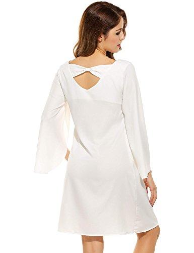 ZEARO Kleid Damen Elegant Langarm Kleid Loose Partykleid mit O-Ausschnitt Weiß