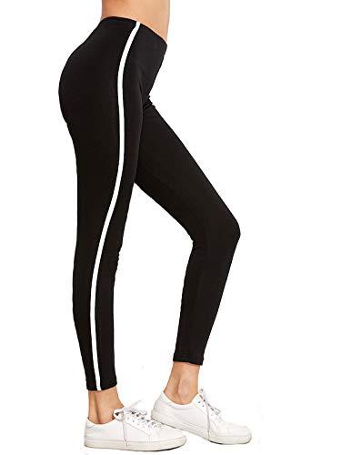 Shocknshop Black Striped Side Ankle-Length Skinny Bottoms Women Mid Waist Casual Leggings (LEG26)