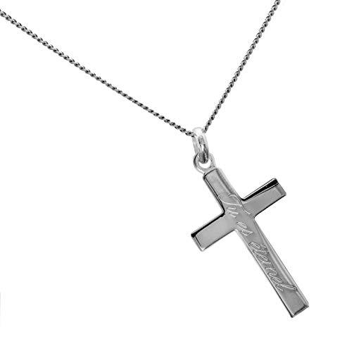 ASCALIDO Croix Plate chrétienne catholique en Argent Massif 925. Ensemble Pendentif et Chaine Homme de 50cm avec Boite écrin Gravure Possible